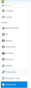 Synology package center community tab